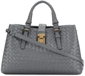 Bottega Veneta new light grey Intrecciato calf small Roma bag