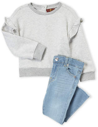 7 For All Mankind Toddler Girls) Two-Piece Ruffle Accent Sweatshirt and Jeans Set