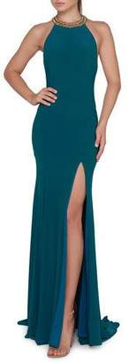 Mac Duggal Ieena for Beaded Halter-Neck Jersey Gown with Thigh-High Slit