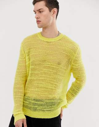 Asos Design DESIGN oversized knitted mesh sweater in yellow