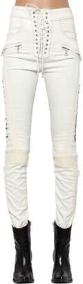 Unravel Lace-Up Cotton & Plonge Leather Pants