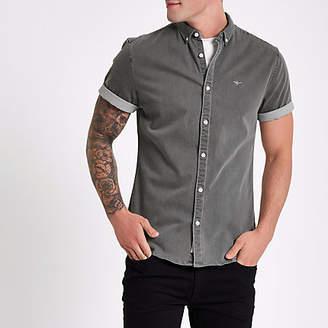 River Island Grey wasp muscle fit denim shirt