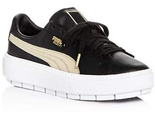Puma Women's Trace Varsity Leather Lace Up Platform Sneakers