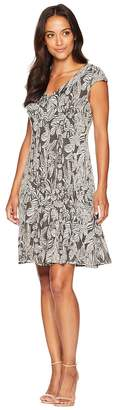 London Times Tropical Knit Fit Flare Women's Dress