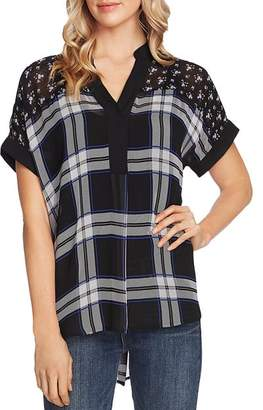 Vince Camuto Windowpane Floral Print Top