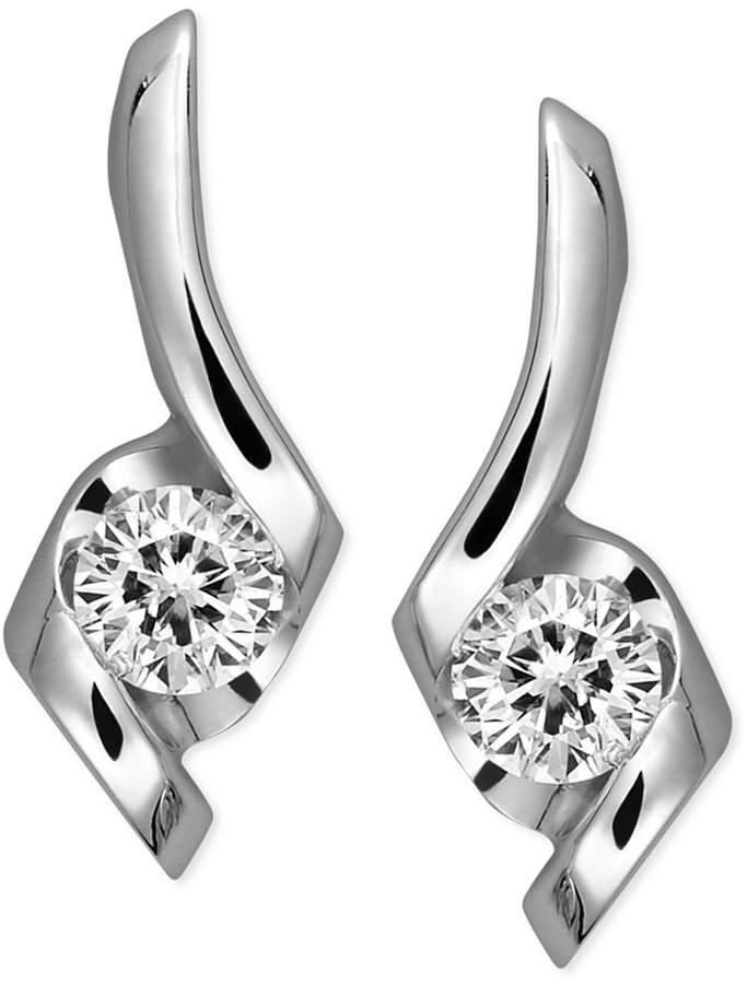 Sirena Diamond Swirl Earrings in 14k White Gold (1/4 ct. t.w.)