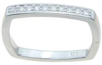 Plutus Brands Round-Cut CZ Sterling Silver High-Polish Square-Shape Thin 2.5mm Wedding Band