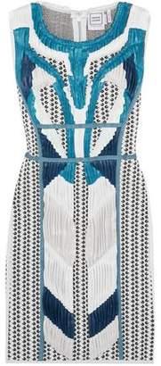 Herve Leger Akira Plissé-Paneled Jacquard-Knit Mini Dress