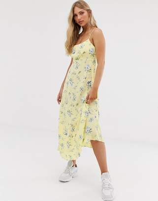 Stradivarius floral midi cami dress with laceback in yellow
