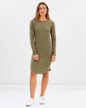 Asymmetrical Hem LS Tee Dress