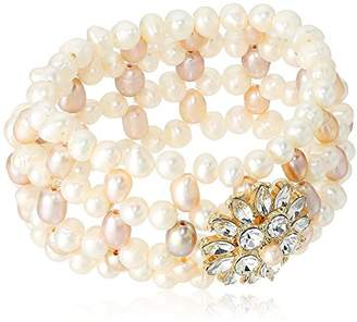 939bdbded1 Carolee Petals and Pearls Collection Women s Freshwater Pearl Woven Stretch  Bracelet