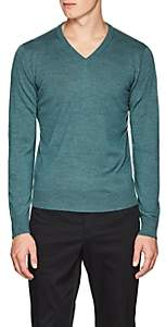 Piattelli MEN'S MERINO WOOL V-NECK SWEATER - GREEN SIZE M