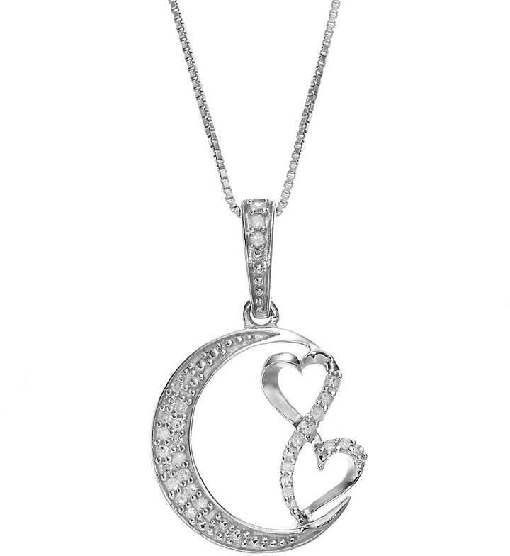 Love Is Forever Sterling Silver 1/7-ct. T.W. Diamond Double Heart & Moon Pendant