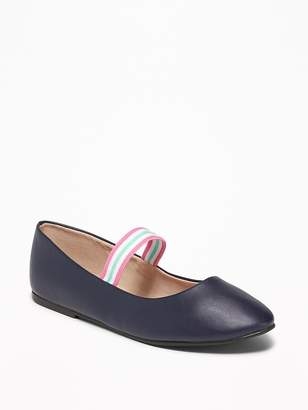 Old Navy Faux-Leather Rainbow-Strap Flats for Girls
