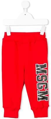 MSGM contrast logo printed track pants