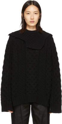 Raf Simons Black Aran Collar Sweater
