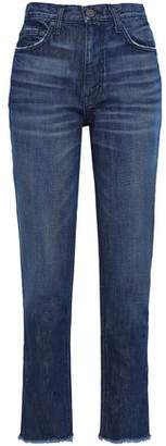 Joie Josie Frayed High-Rise Straight-Leg Jeans