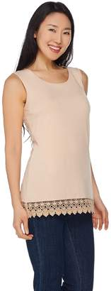 Joan Rivers Classics Collection Joan Rivers Jersey Knit Tank with Crochet Detail