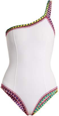 Kiini Yaz crochet-trimmed one-shoulder swimsuit