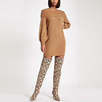 River Island Brown knit bardot sweater dress