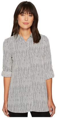 Ellen Tracy Roll Tab Boyfriend Shirt Women's Clothing