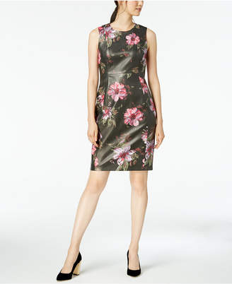 Calvin Klein Printed Faux-Leather Sheath Dress