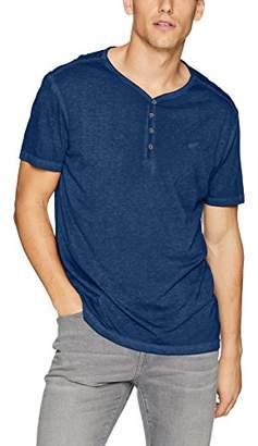 William Rast Men's Depp V-Neck Henley Short Sleeve Tee with Brand Logo