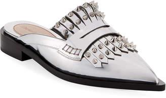 Alexander McQueen Metallic Studded Flat Mule Loafers