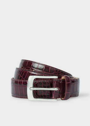 Paul Smith Men's Burgundy Mock-Croc Leather Belt