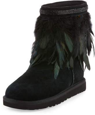 UGG Classic Short Feather-Trim Boot, Black