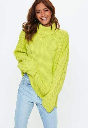 Missguided Green Turtle Neck Cable Longline Sweater