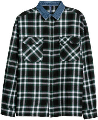 H&M Denim-collared Flannel Shirt - Black