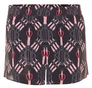 Valentino Printed crêpe de chine silk shorts