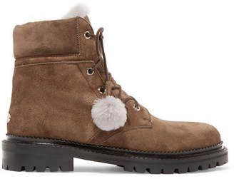 Jimmy Choo Elba Shearling-lined Suede Ankle Boots - Beige