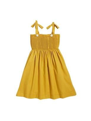 Oscar de la Renta Smocked Cotton-Twill Gabardine Dress