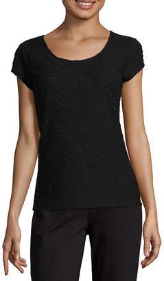 Liz Claiborne Short Sleeve Textured Knit Top - Tall