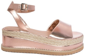 b89e45de05e Missy Empire Missyempire Breeze Rose Gold Suede Vamp Espadrille Flatform  Sandals