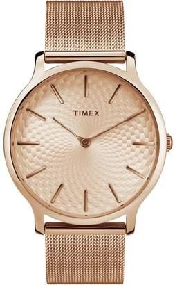 Timex Ladies Skyline Rose Dial With Mesh Bracelet