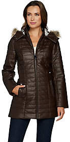 Dennis Basso Quilted Faux Leather Coat w/ FauxFur Trim Hood