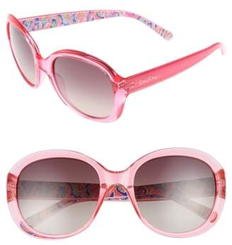Lilly Pulitzer R) Magnolia 57mm Polarized Round Sunglasses