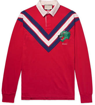 Gucci Appliquéd Twill-Trimmed Cotton-Jersey Polo Shirt