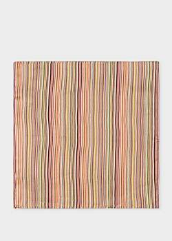 Paul Smith Men's Signature Stripe Silk Pocket Square