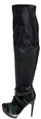 Herve Leger Leather Over-The-Knee Boots