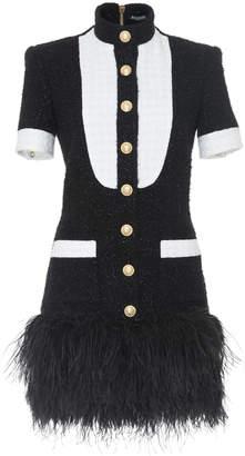 Balmain Feather Hem Tweed Dress