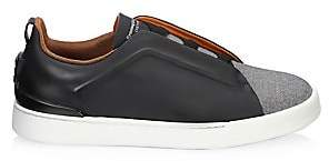 Ermenegildo Zegna Men's Triple Stitch Rubberized Leather & Wool Sneakers