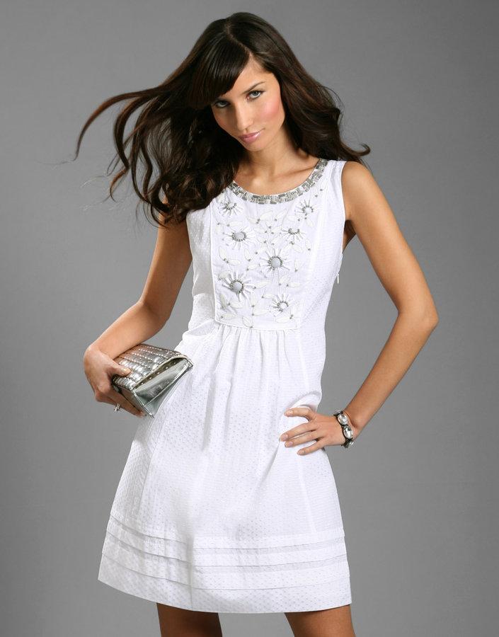 Rebecca Taylor Embellished Bib Front Mini Dress