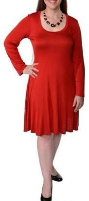 24/7 Comfort Apparel Women's Plus Long Sleeve Casual Dress