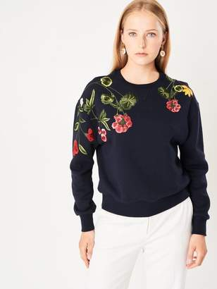Oscar de la Renta Botanical Embroidered Cotton Terrycloth Sweatshirt
