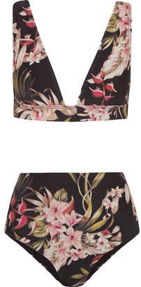 Zimmermann - Curacao Floral-print Bikini - Black $295 thestylecure.com