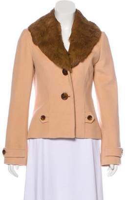 Lela Rose Fur-Trimmed Wool-Blend Jacket